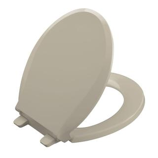 Kohler Cachet Quiet-Close Round Closed Front Toilet Seat with Grip-tight Bumpers in Sandbar