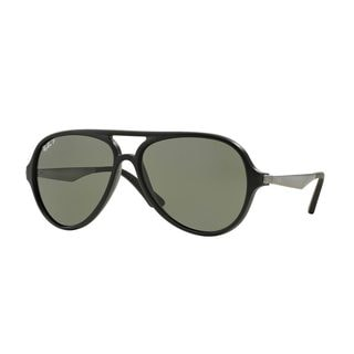 Ray-Ban Men's RB4235 Black Plastic Pilot Polarized Sunglasses