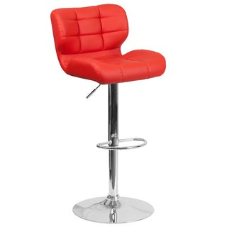 Porch & Den Ambassador Contemporary Tufted Vinyl Adjustable Height Barstool with Chrome Base