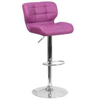Clay Alder Home Ambassador Contemporary Tufted Vinyl Adjustable Height Barstool with Chrome Base