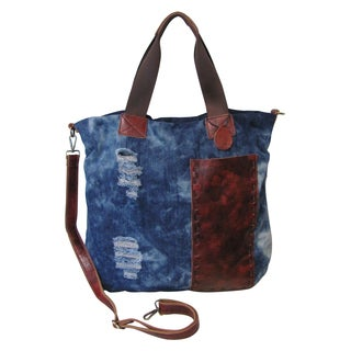 Amerileather Colton Ripped Denim With Leather Trim Tote Bag