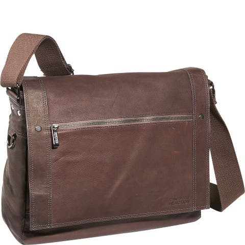 Kenneth Cole Reaction Full Grain Colombian Leather Flapover Crossbody Laptop Messenger Bag