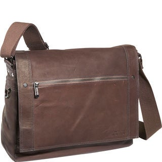 Kenneth Cole Reaction Colombian Leather Flapover Messenger Bag (Option: Brown)