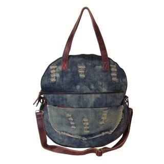 Amerileather Preston Ripped Denim/Leather Trim Tote Bag