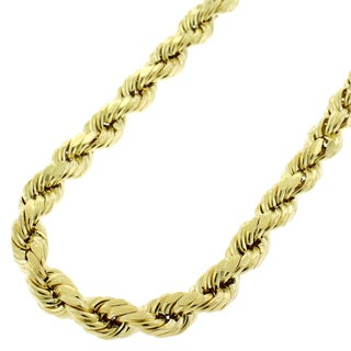 10k Yellow Gold Mens Womens 6.5mm Hollow Rope Diamond Cut Chain Necklace