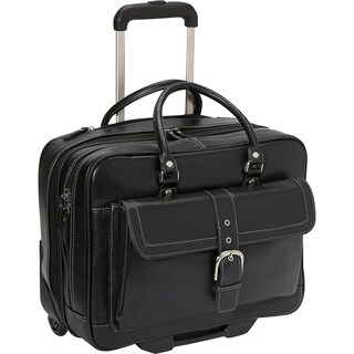 Heritage Soho Pebbled Leather 15.6-inch Rolling Double-compartment Laptop Case/ Overnighter