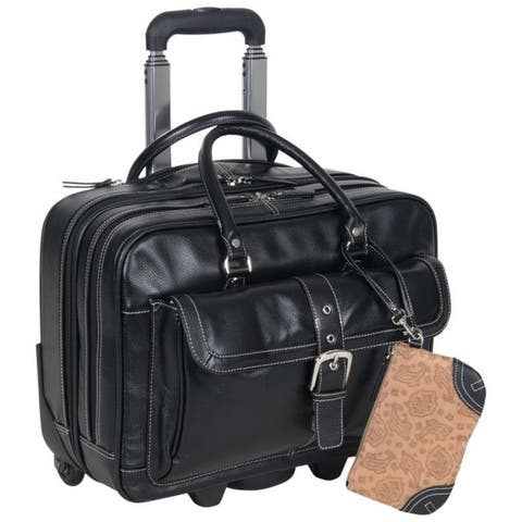 Heritage Travelware Pebbled PDM Leather 2-Wheel 16-inch Laptop & Tablet Bag / Rolling Business Carry-On