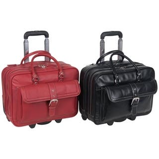 Heritage Soho Pebbled Leather 15 6 Inch Rolling Double Compartment Laptop Case Overnighter
