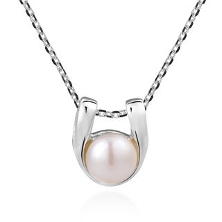 Handmade Subtle Everyday White Pearl Slide Sterling Silver Necklace (Thailand)
