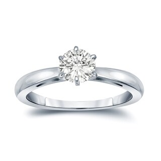 Auriya 14k Gold 1/3ct TDW Round-Cut Diamond 6-Prong Solitaire Engagement Ring