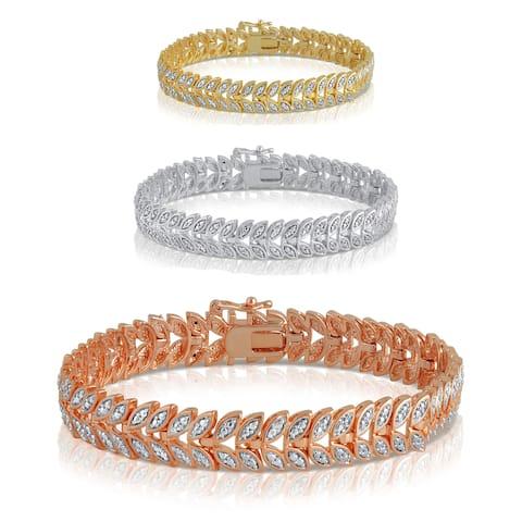 Divina Gold over Silver Diamond Accent Leaf Fashion Bracelet