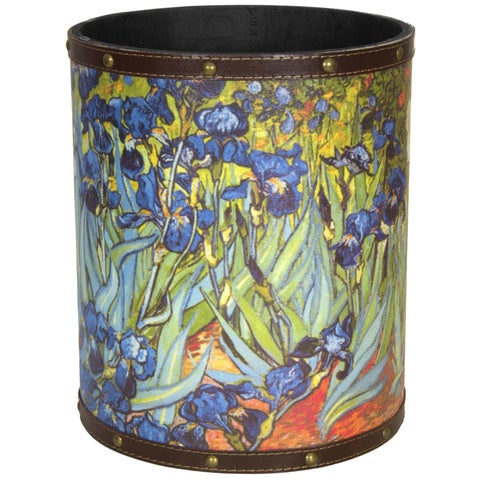 Handmade Van Gogh Irises Waste Basket (China)