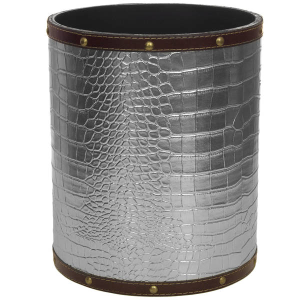Handmade Silver Faux Leather Waste Basket (China)