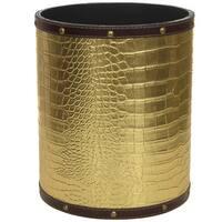 Handmade Gold Faux Leather Waste Basket (China)