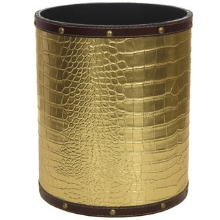 Handmade Gold Faux Leather Waste Basket (China)