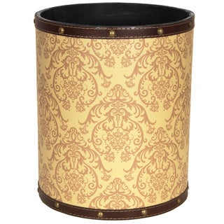 Handmade Yellow Damask Waste Basket (China)