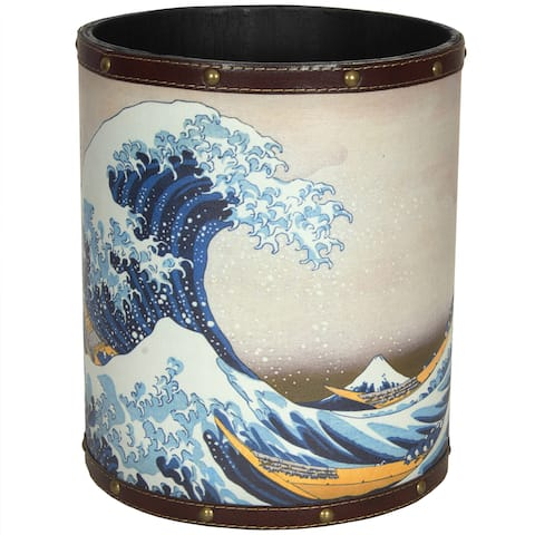 Handmade Great Wave off Kanagawa Waste Basket (China)