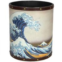 Handmade Great Wave off Kanagawa Waste Basket (China)