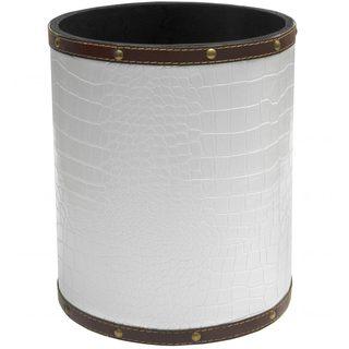 Handmade White Faux Leather Waste Basket (China)