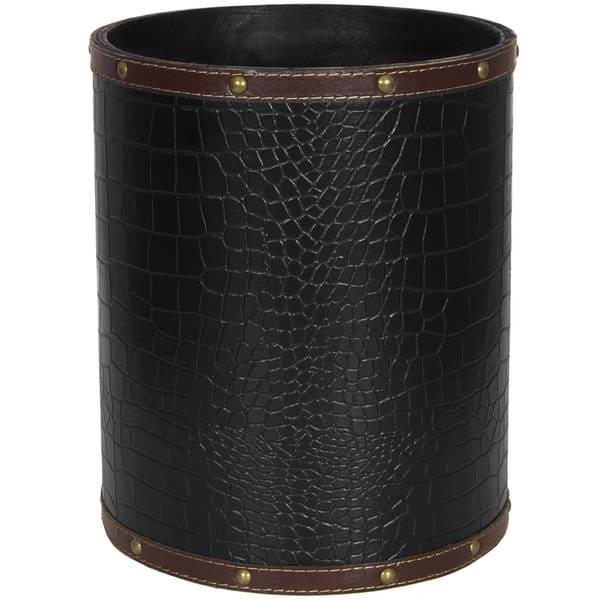 Black Faux Leather Waste Basket (China)