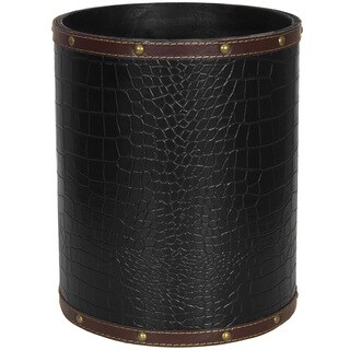 Black Faux Leather Waste Basket (China)