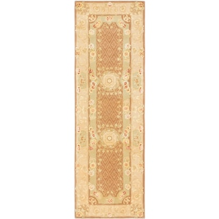 ecarpetgallery (No Suggestions) HT Brown WOOL SILK Rug (2'7 x 8'0)
