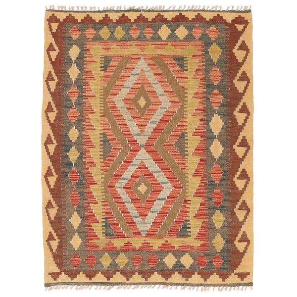 Herat Oriental Afghan Hand-woven Wool Mimana Kilim - 2'8 x 3'7