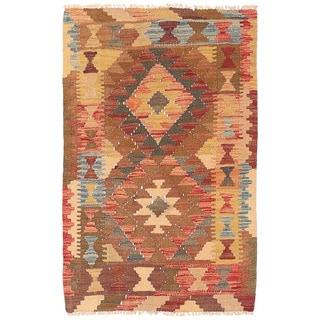 Herat Oriental Afghan Hand-woven Wool Mimana Kilim (2'3 x 3'7)