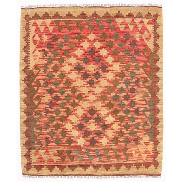 Handmade Herat Oriental Afghan Wool Mimana Kilim - 2'11 x 3'8 (Afghanistan)