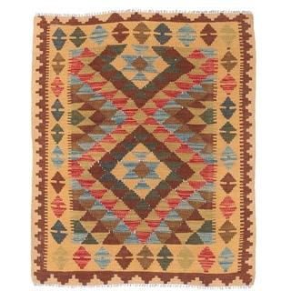 Herat Oriental Afghan Hand-woven Wool Mimana Kilim (3'1 x 3'9)