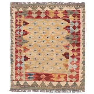 Herat Oriental Afghan Hand-woven Wool Mimana Kilim (2'4 x 2'9)
