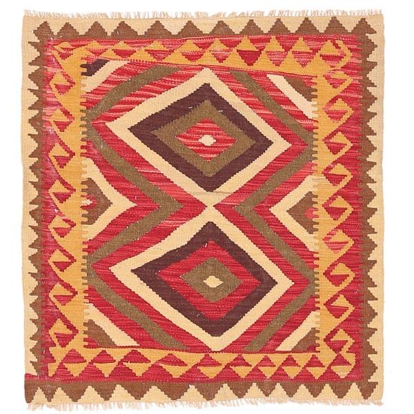Herat Oriental Afghan Hand-woven Wool Mimana Kilim - 3'1 x 3'5