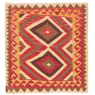 Herat Oriental Afghan Hand-woven Wool Mimana Kilim (3'1 x 3'5)