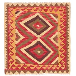 Handmade Herat Oriental Afghan Wool Mimana Kilim - 3'1 x 3'5 (Afghanistan)