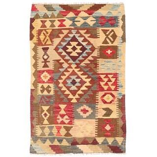 Herat Oriental Afghan Hand-woven Wool Mimana Kilim (2'4 x 3'9)