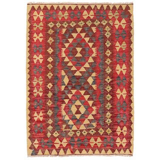 Herat Oriental Afghan Hand-woven Wool Mimana Kilim (2'5 x 3'4)