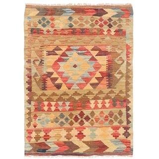 Herat Oriental Afghan Hand-woven Wool Mimana Kilim (2'6 x 3'5)