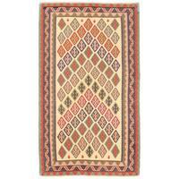 Herat Oriental Afghan Hand-woven Wool Mimana Kilim (3'6 x 5'11) - 3'6 x 5'11