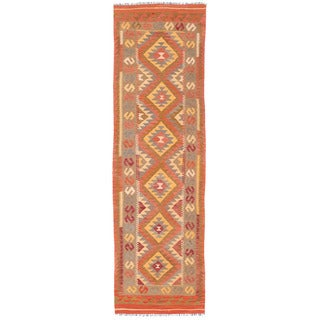 Herat Oriental Afghan Hand-woven Wool Mimana Kilim (2'10 x 9'10)