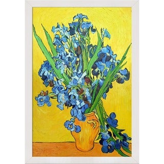 Vincent Van Gogh 'Irises in a Vase' Hand Painted Framed Canvas Art