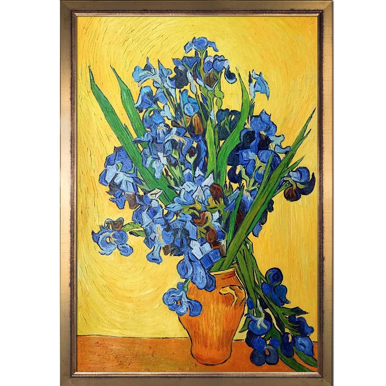 Van Gogh Vase of Irises A4 Art print for framing on linen card,