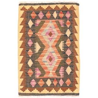 Herat Oriental Afghan Hand-woven Wool Mimana Kilim (1'9 x 2'8)