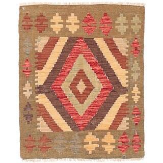 Herat Oriental Afghan Hand-woven Wool Mimana Kilim (1'11 x 2'5)