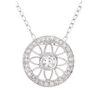 Collete Z Rhodium Plated Sterling Silver Prong/ Bezel-set Cubic Zirconia Round Pendant