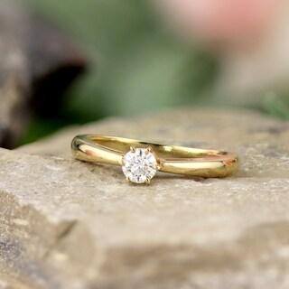 Auriya 14k Gold 1/3ct TDW 6-Prong Round Diamond Solitaire Engagement Ring