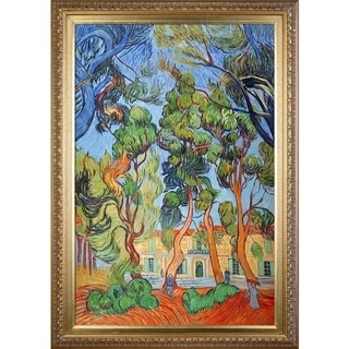 Vincent Van Gogh 'Trees in the Garden of St. Paul Hospital' Hand Painted Framed Canvas Art