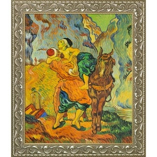 Vincent Van Gogh 'The Good Samaritan (After Delacroix)' Hand Painted Framed Canvas Art