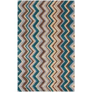 ecarpetgallery Zig Zag Blue, Green Wool Rug (5'0 x 8'0)
