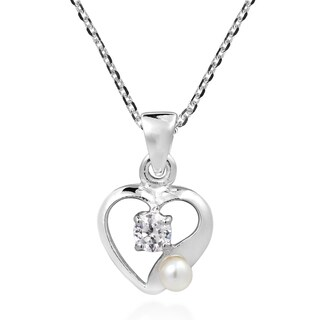 Open Heart Pearl and Cubic Zirconia .925 Silver Necklace (Thailand)