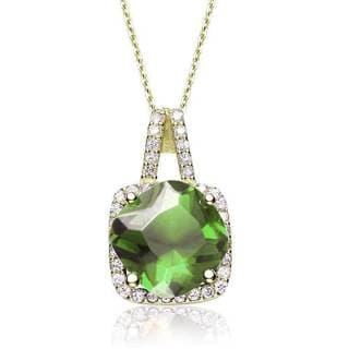 Collete Z Cubic Zirconia Sterling Silver Gold Plated Peridot Square Pendant